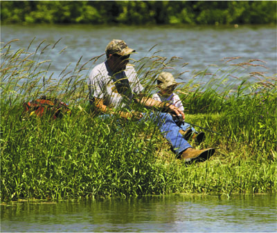 Ловля рыбы с ребенком